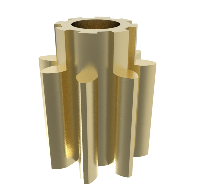 Piñón de metal Módulo 0,500, Dientes 8Z, Forma recto