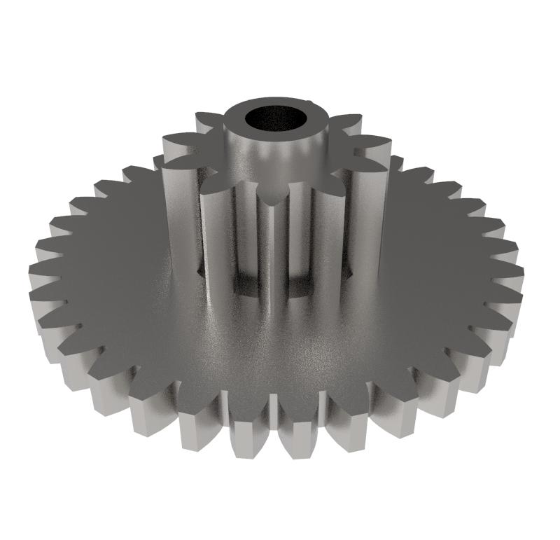 Engranaje de metal Módulo 0.500, Dientes 34Z, Forma con piñon