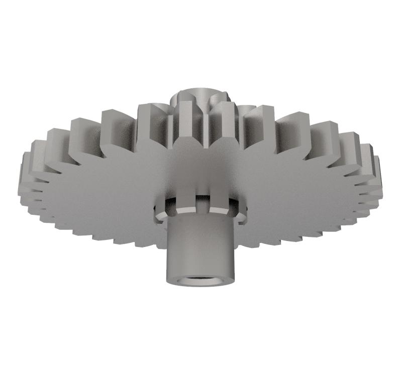 Engranaje de metal Módulo 0.500, Dientes 36Z, Forma con piñon
