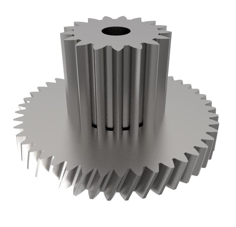 Engranaje de metal Módulo 0.400, Dientes 45Z, Forma con piñon  Engrane helicoidal con piñón recto  Datos del engrane   -Z45 módulo 0,4  -Diámetro externo: 19,96 mm  -Paso de hélice: 165,37  -Angulo β: 20º  -Roscado: Derechas  -Material del engranaje: Acero F-212  -Acabado: Carbonitrurado  Datos del piñón  -Z17 módulo 0,5  -Diámetro externo de 9,80 mm  -Diámetro eje de paso 2,55 mm  -Material del piñón: Acero F-212  -Acabado: Carbonitrurado