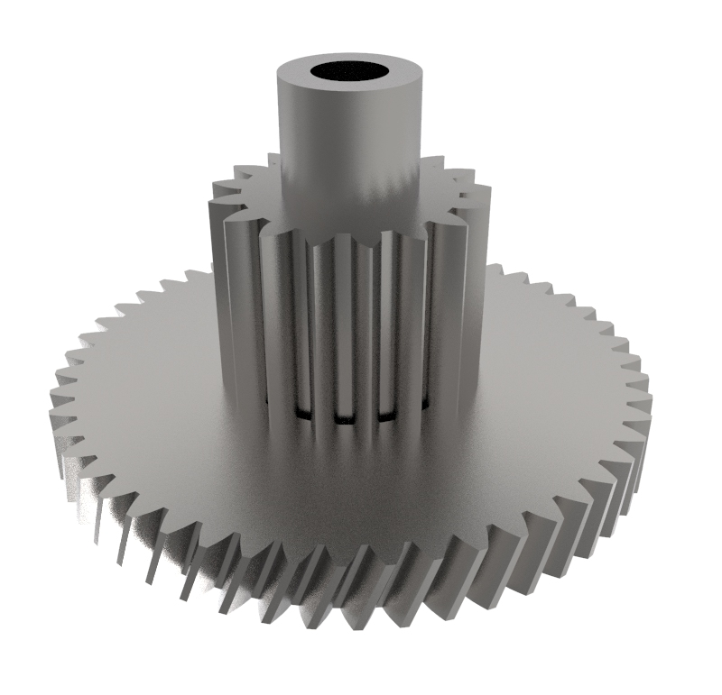 Engranaje de metal Módulo 0.400, Dientes 50Z, Forma con piñon