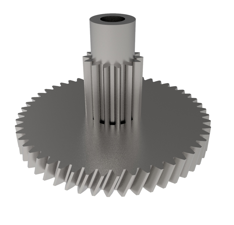 Engranaje de metal Módulo 0.400, Dientes 51Z, Forma con piñon