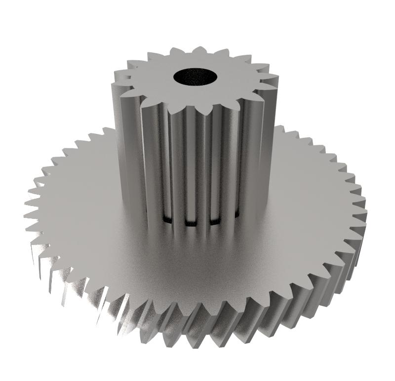 Engranaje de metal Módulo 0.400, Dientes 50Z, Forma con piñón  Engrane helicoidal con piñón recto  Datos del engrane   -Z50 módulo 0,4  -Diámetro externo: 22,05 mm  -Paso de hélice: 183,41  -Angulo β: 20º  -Roscado: Derechas  -Material del engranaje: Acero F-212  -Acabado: Carbonitrurado  Datos del piñón  -Z17 módulo 0,5  -Diámetro externo de 9,80 mm  -Diámetro eje de paso 2,55 mm  -Material del piñón: Acero F-212  -Acabado: Carbonitrurado