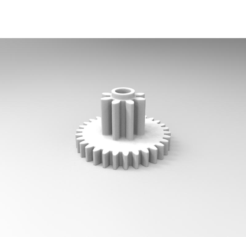 Engranaje de plástico Módulo 0.200, Dientes 30Z, Forma con piñon  Ver modelo 3D
