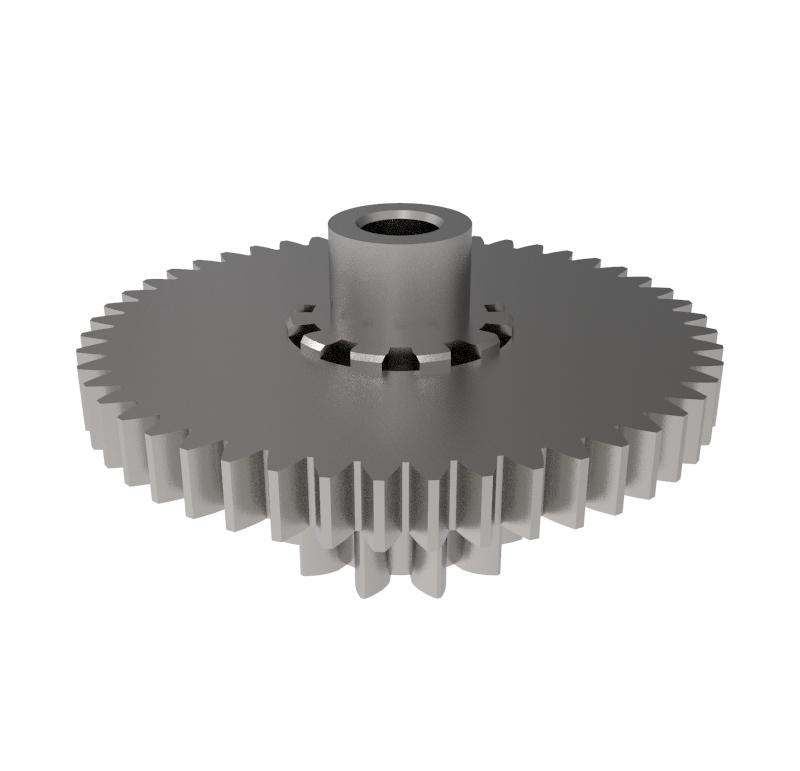 Engranaje de metal Módulo 0.500, Dientes 48Z, Forma con piñon