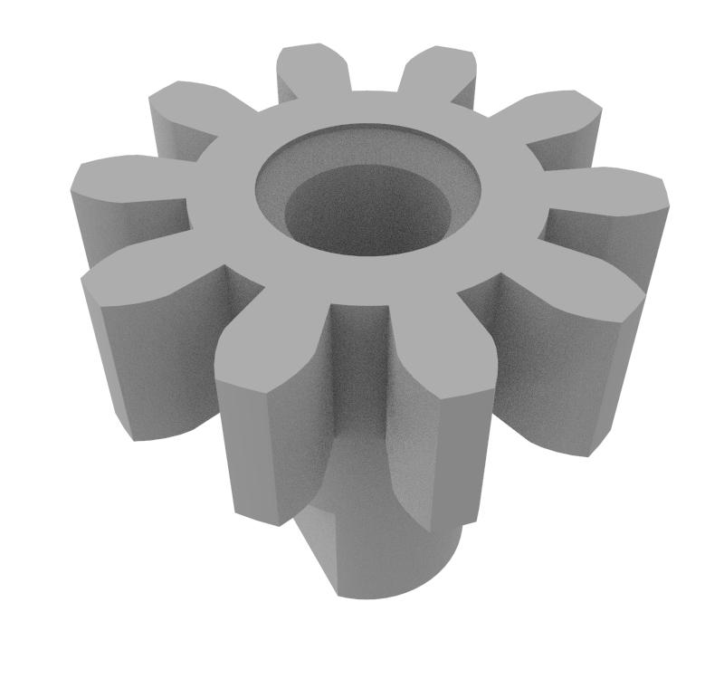 Piñón de plástico Módulo 0.750, Dientes 10Z, Forma recto