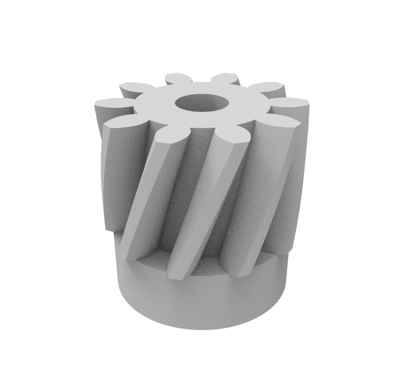 Piñón de plástico Módulo 0.600, Dientes 10Z, Forma helicoidal