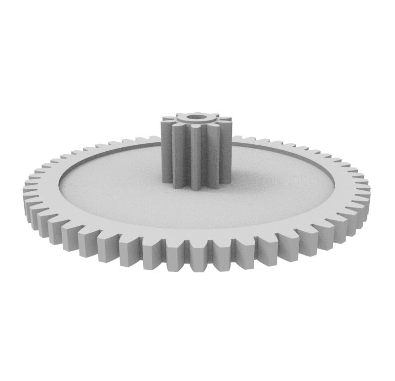 Engranaje de plástico Módulo 0.600, Dientes 56Z, Forma con piñon