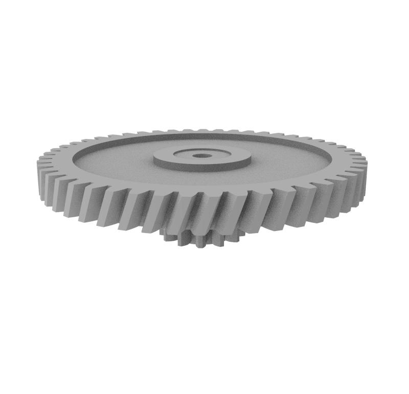 Engranaje de plástico Módulo 0.600, Dientes 49Z, Forma con piñon