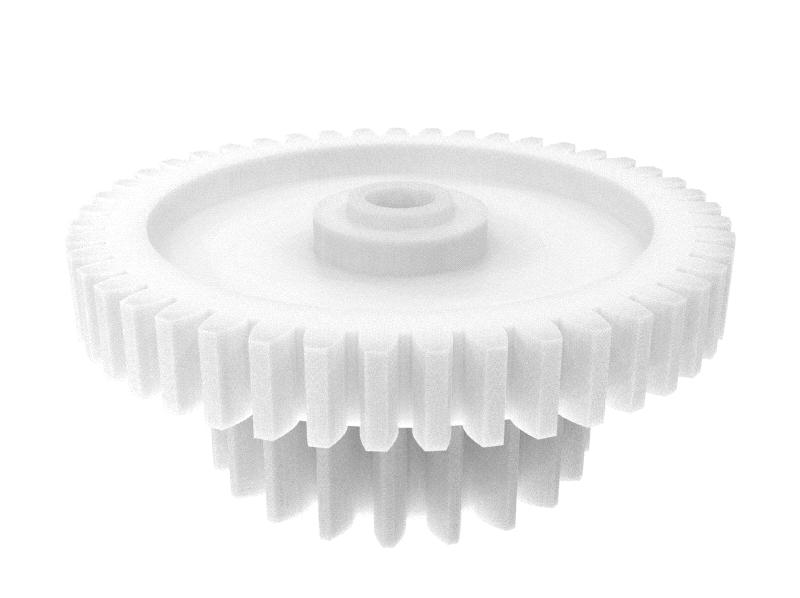 Engranaje de plástico Módulo 0.400, Dientes 45Z, Forma con piñon