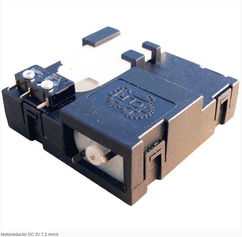 Reductor engranaje recto. Material engranajes: POM. Rodadura de engranajes sobre ejes de acero templados y rectificados. Carcasa: PA6+30GF. Número de etapas: 3 Maxima fuerza lineal: 15 Kg. - 150N. Reducción: 309:1  Datos del microrruptor SS-5D Omron De 5A a 125 VAC y 3A a 250 VAC. Con terminales para PCB y formato SPDT. Rango de temperatura de -25 ºC a 120 ºC.  PLAZO DE ENTREGA MÁXIMO: 2/3 semanas.Se confirmará a la recepción del pedido.