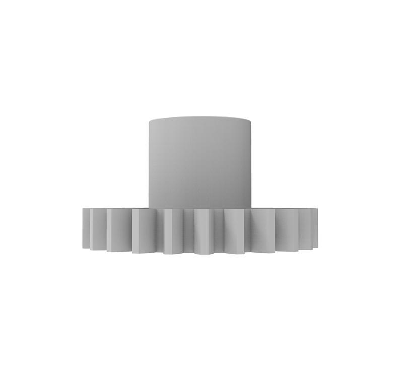 Engranaje de plástico Módulo 0.750, Dientes 24Z, Forma con bulon