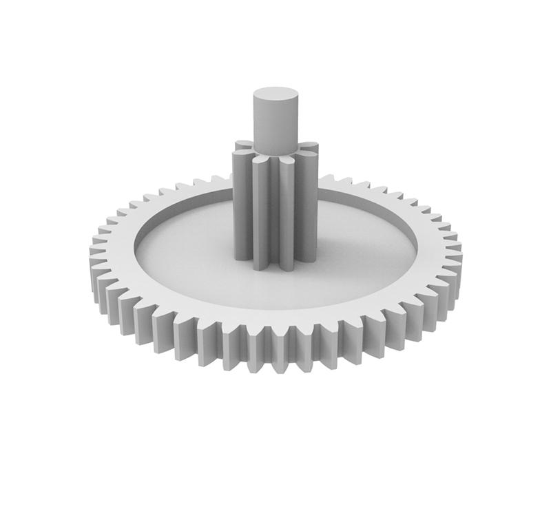 Engranaje de plástico Módulo 0.500, Dientes 50Z, Forma con piñon