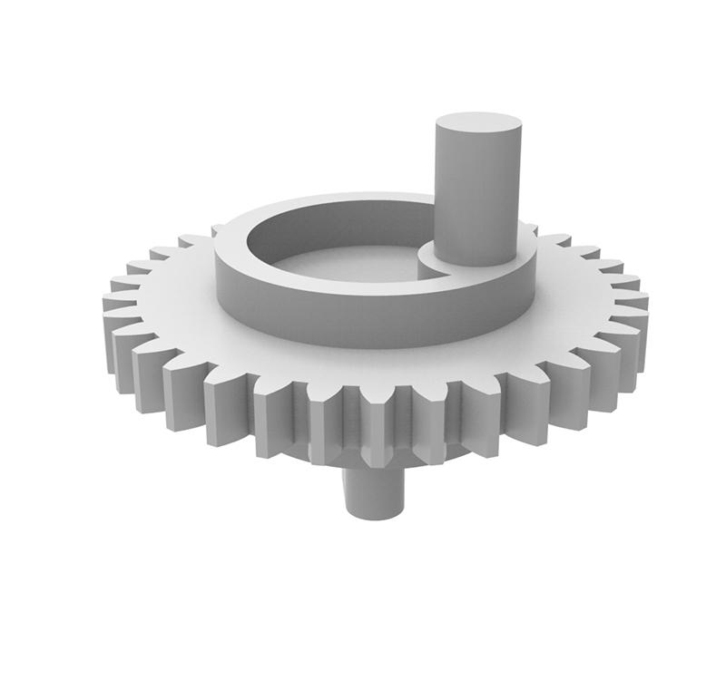 Engranaje de plástico Módulo 0.750, Dientes 34Z, Forma con bulon