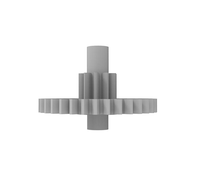 Engranaje de plástico Módulo 0.600, Dientes 34Z, Forma con piñon