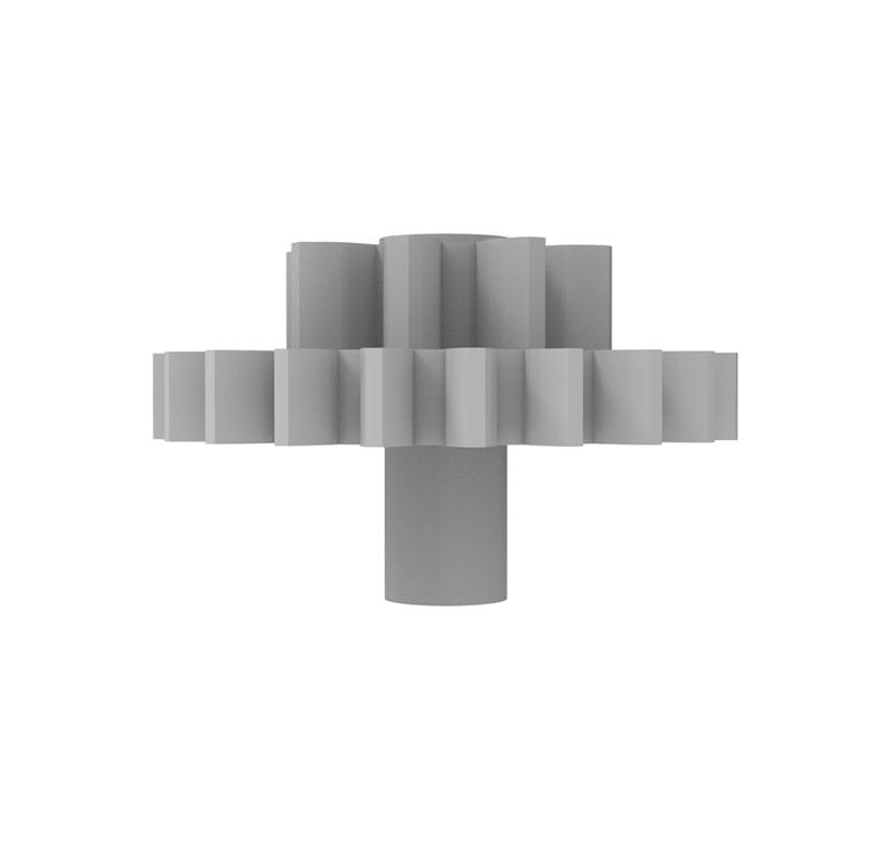 Engranaje de plástico Módulo 0.750, Dientes 21Z, Forma con piñon