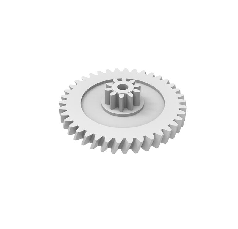 Engranaje de plástico Módulo 0.700, Dientes 38Z, Forma helicoidal  Datos del engranaje - Engranaje helicoidal con piñón recto - Material: POM (2,04G) - Diámetro eje de paso: 2,55 mm - Engranaje: Z38  módulo 0,7 - Diámetro externo del engranaje: 29,28 mm - Paso de hélice: 244,33 - Ángulo β: 20º - Sentido de hélice: Derechas - Piñón: Z10 módulo 0,7 - Diámetro externo del piñón: 8,45 mm