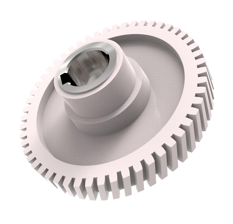 Engranaje de plástico Módulo 1.00, Dientes 53Z, Forma con sobreinyección