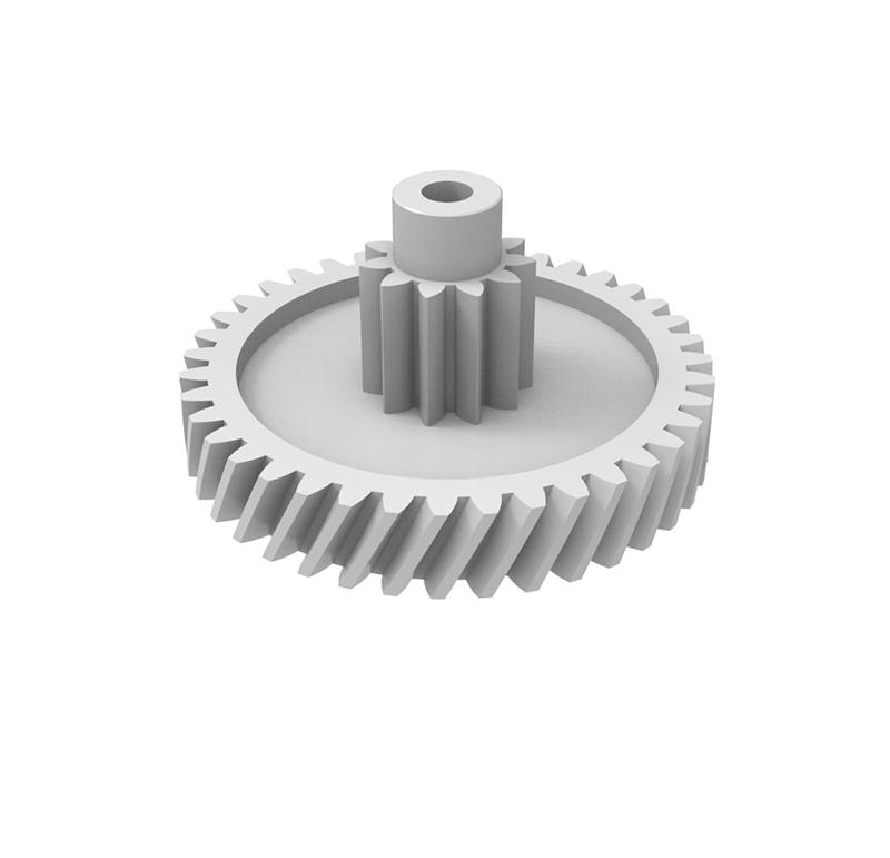 Engranaje de plástico Módulo 0.500, Dientes 39Z, Forma con piñón  Engrane helicoidal con piñón recto  Datos del engrane   -Z39 módulo 0,5  -Diámetro externo: 21,60 mm  -Paso de hélice: 179,10  -Angulo β: 20º  -Roscado: Derechas  -Material del engranaje: POM  Datos del piñón  -Z11 módulo 0,5  -Diámetro externo: 7,05 mm  -Diámetro eje de paso: 2,90 mm  -Material del piñón: POM