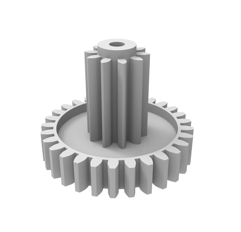 Engranaje de plástico Módulo 0.700, Dientes 29Z, Forma con piñon