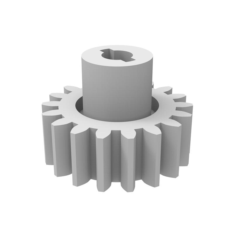 Engranaje de plástico Módulo 0.750, Dientes 18Z, Forma con bulón