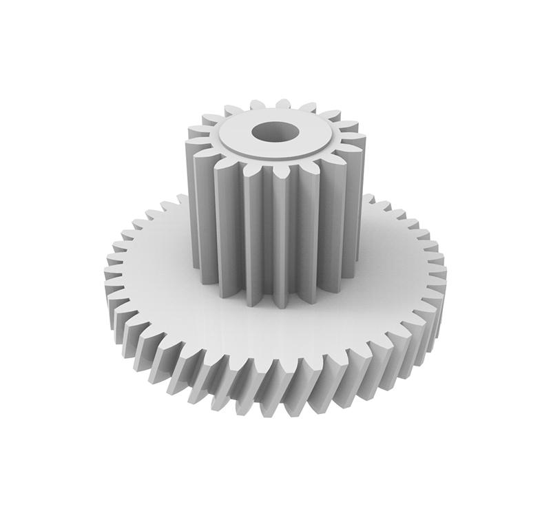 Engranaje de plástico Módulo 0.400, Dientes 45Z, Forma con piñón  Datos del engranaje   - Engranaje helicoidal   - Material: POM   - Diámetro eje de paso: 2.55 mm   - Z 45 módulo 0,4   - Diámetro externo:19,90 mm   - Paso de hélice: 164,20   - Ángulo beta: 20º    - Roscado: Derechas  Datos del piñón   - Material: POM   - Z 17 módulo 0,5   - Diámetro externo: 9,70 mm