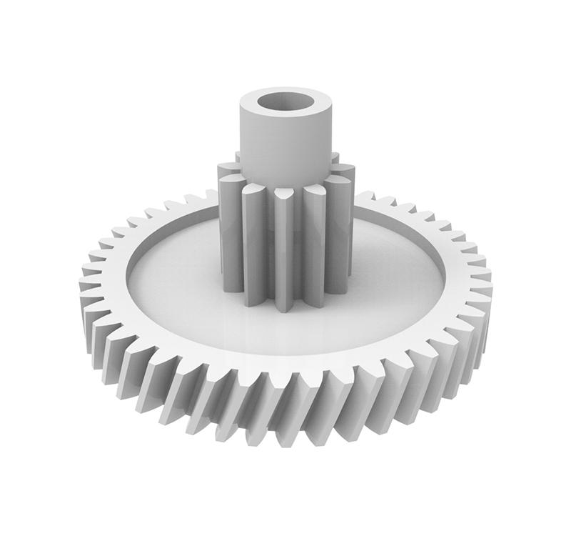 Engranaje de plástico Módulo 0.400, Dientes 45Z, Forma con piñón  Datos del engranaje   - Engranaje helicoidal   - Material: POM   - Diámetro eje de paso: 2.55 mm   - Z 45 módulo 0,4   - Diámetro externo:19,90 mm   - Paso de hélice: 164,2   - Ángulo beta: 20º    - Roscado: Derechas  Datos del piñón   - Material: POM   - Z 11 módulo 0,5   - Diámetro externo: 6,50 mm