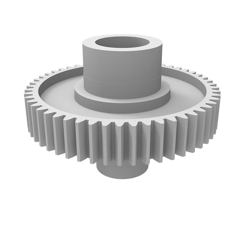 Engranaje de plástico Módulo 0.700, Dientes 53Z, Forma con bulón