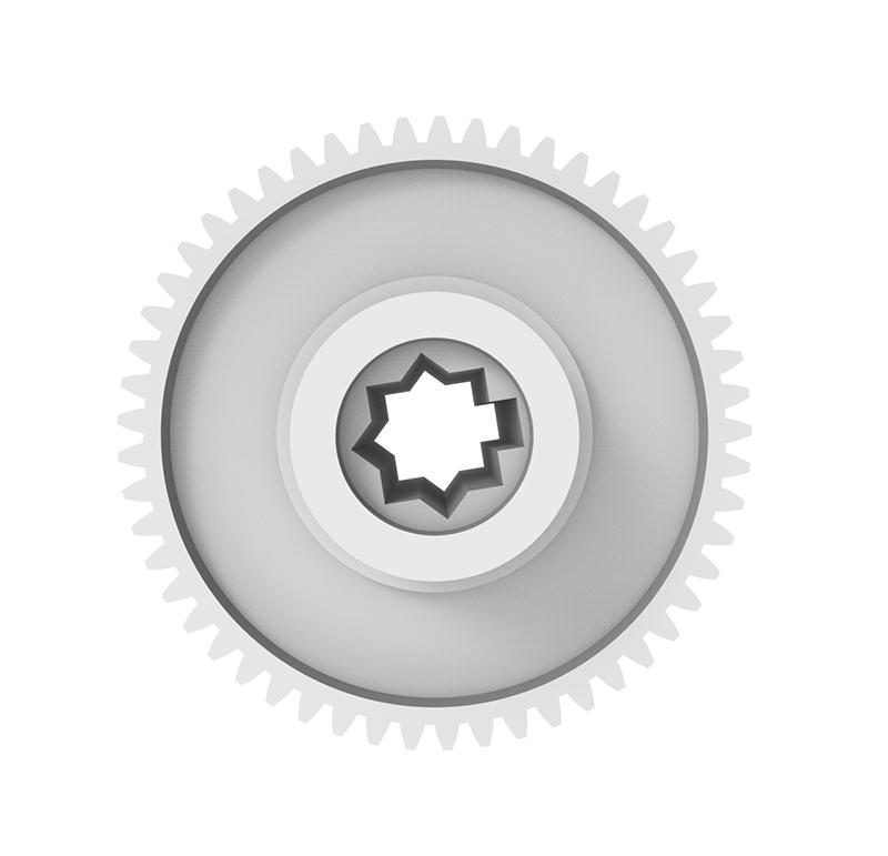 Engranaje de plástico Módulo 0.700, Dientes 53Z, Forma con bulon