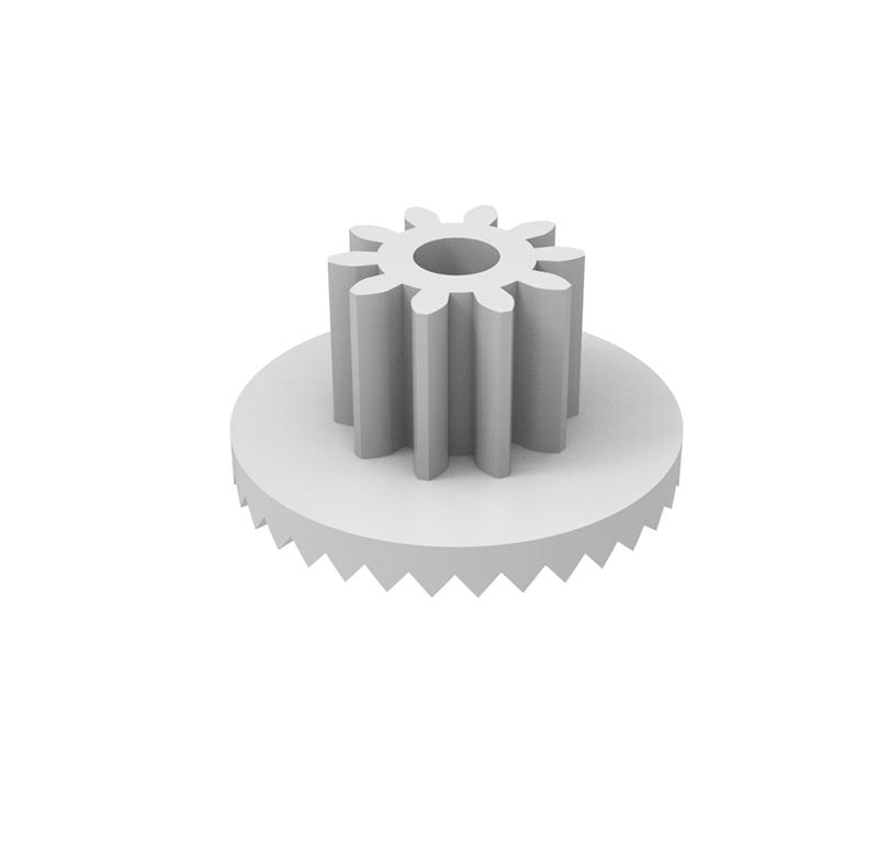 Engranaje de plástico Módulo 0.750, Dientes 10Z, Forma con piñon