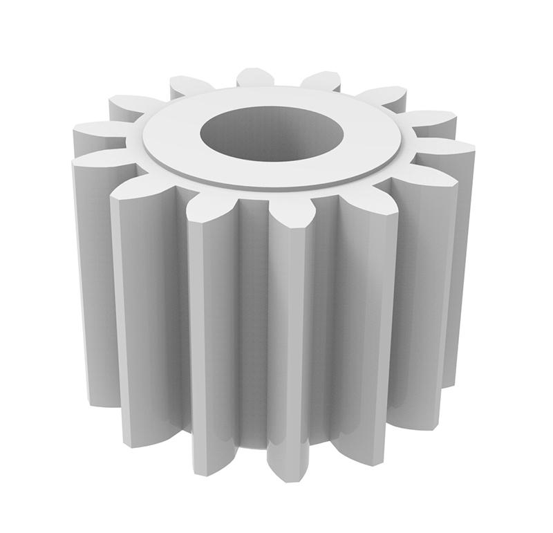 Piñón de plástico Módulo 0.750, Dientes 14Z, Forma recto
