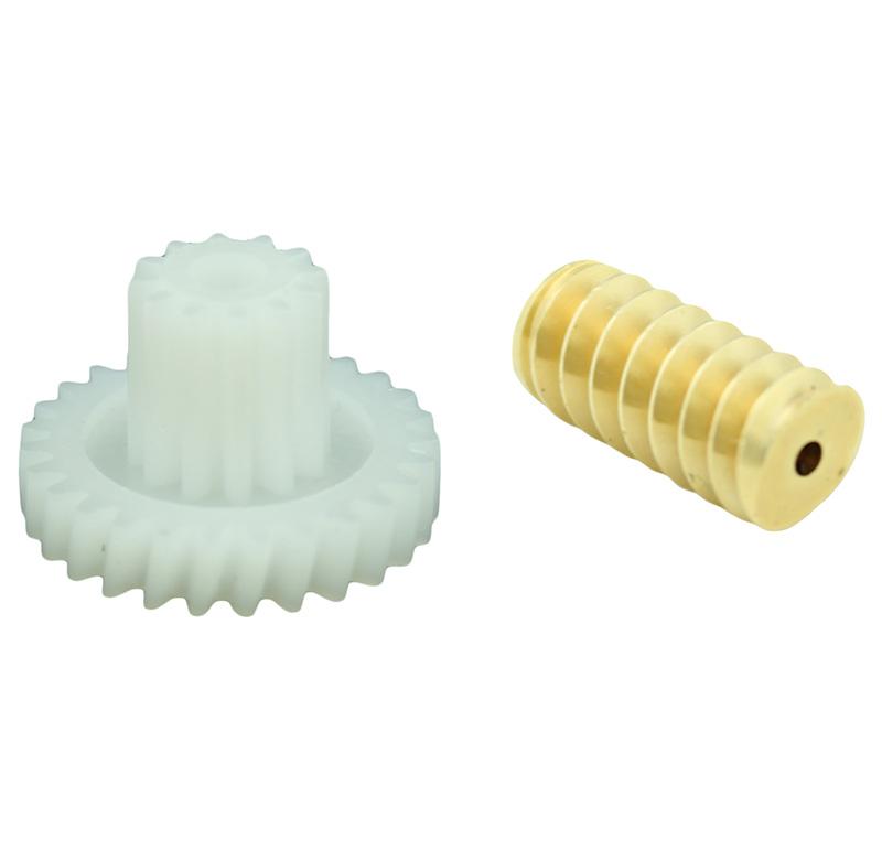 Conjunto Sinfín Corona Módulo 0.500, Numero entradas 2.00, Diametro exterior 5.80mm.  Datos del sinfín   - Material: Latón   - Diámetro paso de eje: 1,51 mm   - Sinfin: Z 2 módulo 0,5   - Diámetro externo: 5,80 mm   - Altura total: 12,50 mm  Datos del engranaje   - Engranaje helicoidal con piñón recto   - Material: POM    - Diámetro eje de paso: 2,55 mm   - Altura total: 9,45 mm   - Engranaje: Z 27 módulo 0,5   - Diámetro externo del engranaje: 14,60 mm   - Piñón Z 12 módulo 0,5   - Diámetro externo del piñón: 6,94 mm