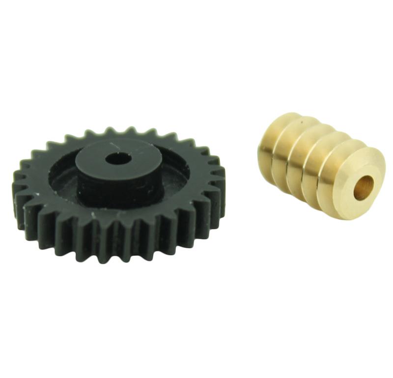 Conjunto Sinfín Corona Módulo 0.500, Numero entradas 1.00, Diametro exterior 5.70mm.  Datos del sinfín   - Material: Latón   - Diámetro paso de eje: 1,96 mm   - Sinfin: Z 1 módulo 0,5   - Diámetro externo: 5,70 mm   - Altura total: 9 mm   - Angulo β: 6º  Datos del engranaje   - Engranaje helicoidal   - Material: POM    - Diámetro eje de paso: 1,85 mm   - Engranaje: Z 28 módulo 0,5   - Diámetro externo: 14,77 mm   - Altura total: 5,20 mm   - Angulo β: 84º