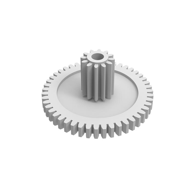 Plastic gear Module 0 400, Teeth 47Z, Shape with pinion, ref  010025