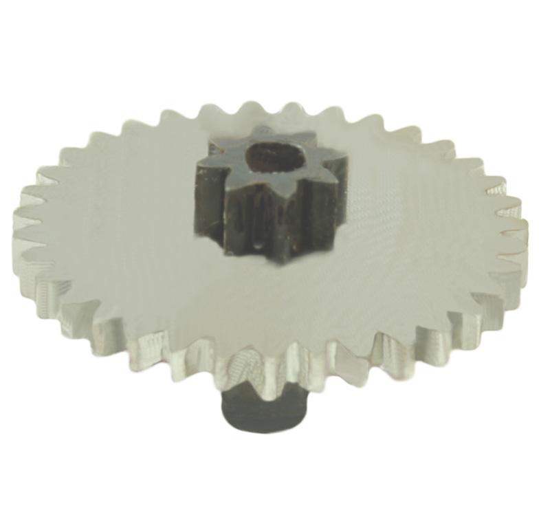 Engranaje de metal Módulo 0.500, Dientes 35Z, Forma con piñon