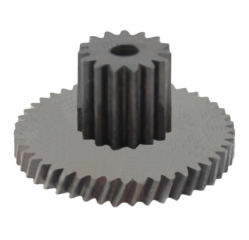 Engranaje de metal Módulo 0.400, Dientes 45Z, Forma con piñón  Engrane helicoidal con piñón recto  Datos del engrane   -Z45 módulo 0,4  -Diámetro externo: 19,96 mm  -Paso de hélice: 165,37  -Angulo β: 20º  -Roscado: Derechas  -Material del engranaje: Acero F-212  -Acabado: Carbonitrurado  Datos del piñón  -Z15 módulo 0,5  -Diámetro externo de 8,50 mm  -Diámetro eje de paso 2,55 mm  -Material del piñón: Acero F-212  -Acabado: Carbonitrurado