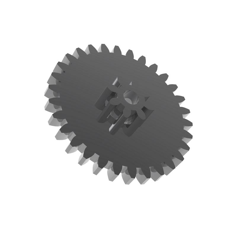 Engranaje de metal Módulo 0.750, Dientes 30Z, Forma con piñon