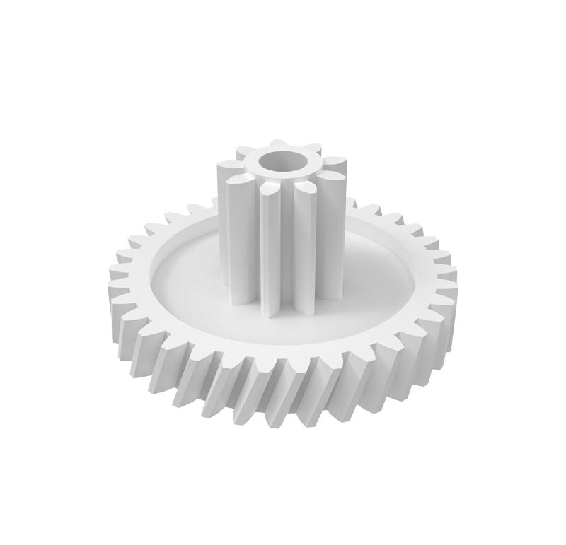 Engranaje de plástico Módulo 0.400, Dientes 34Z, Forma con piñón  Engrane helicoidal con piñón recto  Datos del engrane   -Z34 módulo 0,4  -Diámetro externo: 15,25 mm  -Paso de hélice: 124,9215  -Angulo β: 20º  -Roscado: izquierdas  -Material del engranaje: POM  Datos del piñón  -Z9 módulo 0,5  -Diámetro externo: 5,55 mm  -Diámetro eje de paso: 2,05 mm  -Material del piñón: POM