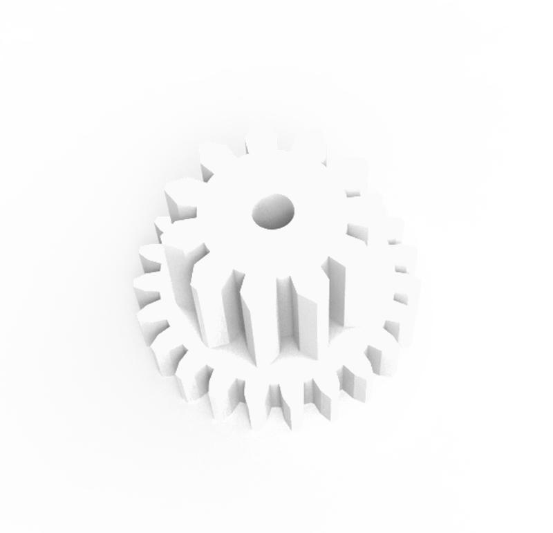 Engranaje de plástico Módulo 0.300, Dientes 23Z, Forma con piñon