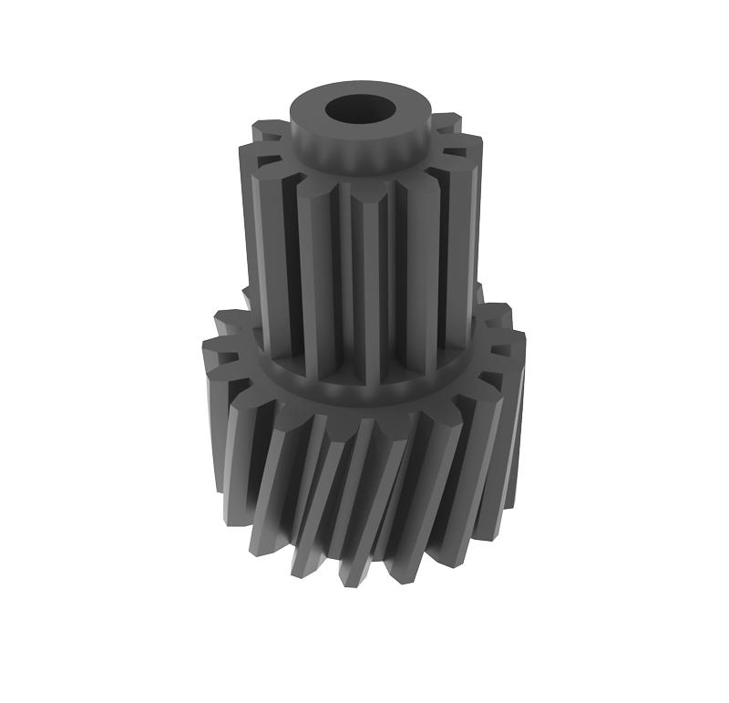 Engranaje de plástico Módulo 0.500, Dientes 18Z, Forma con piñón  Datos del engranaje   - Engranaje helicoidal   - Material: POM   - Diámetro eje de paso: 2 mm   - Z 18 módulo 0,5   - Diámetro externo:10,33 mm   - Paso de hélice: 117,24   - Ángulo beta: 13º 7\'   - Roscado: Derechas  Datos del piñón   - Material: POM   - Z 12 módulo 0,5   - Diámetro externo: 7,07 mm