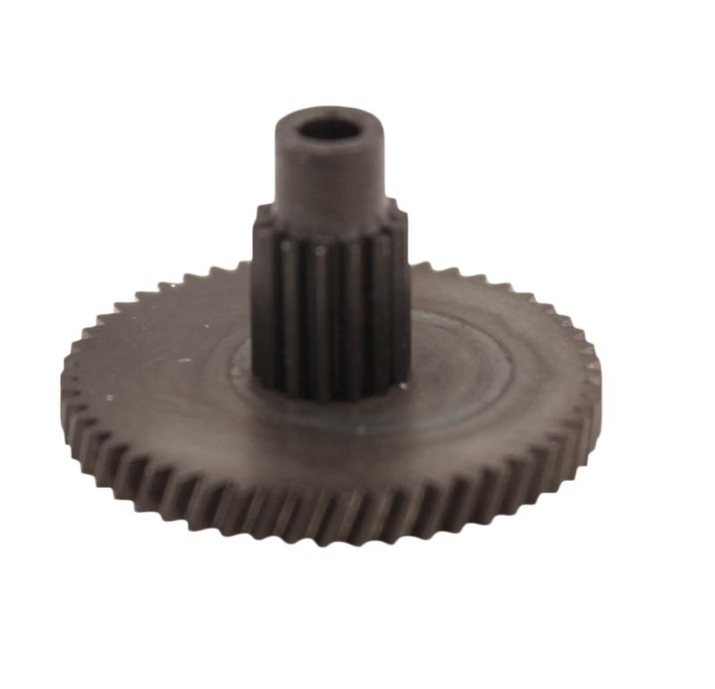 Engranaje de metal Módulo 0.400, Dientes 51Z, Forma con piñon  Engrane helicoidal con piñón recto  Datos del engrane   -Z51 módulo 0,4  -Diámetro externo: 22,51 mm  -Paso de hélice: 187,38  -Angulo β: 20º  -Roscado: Derechas  -Material del engranaje: Acero F-212  -Acabado: Carbonitrurado  Datos del piñón  -Z14 módulo 0,4  -Diámetro externo de 6,58 mm  -Diámetro eje de paso 2,55 mm  -Material del piñón: Acero F-212  -Acabado: Carbonitrurado