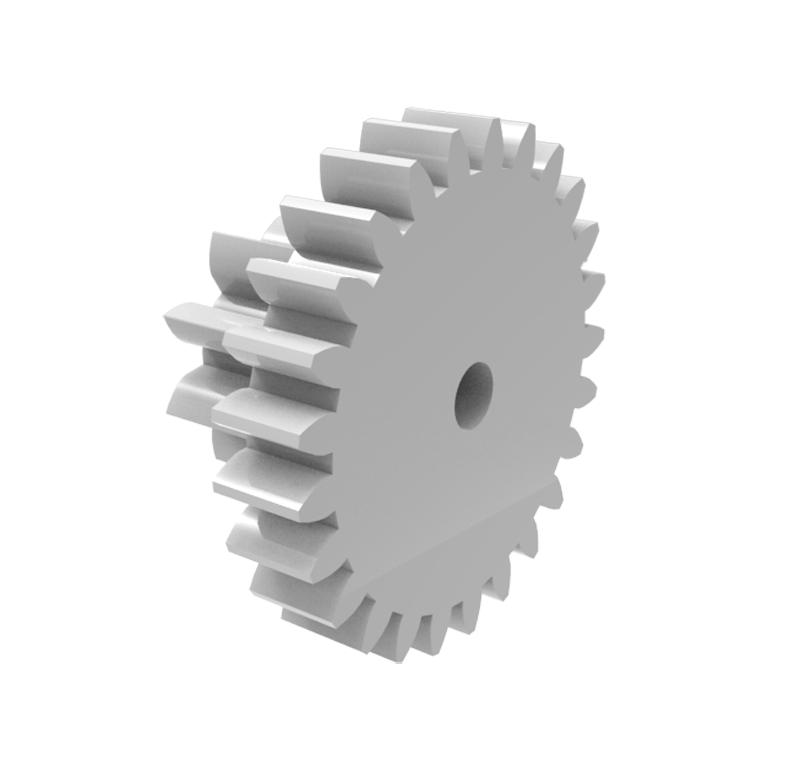 Engranaje de plástico Módulo 0.300, Dientes 25Z, Forma con piñon