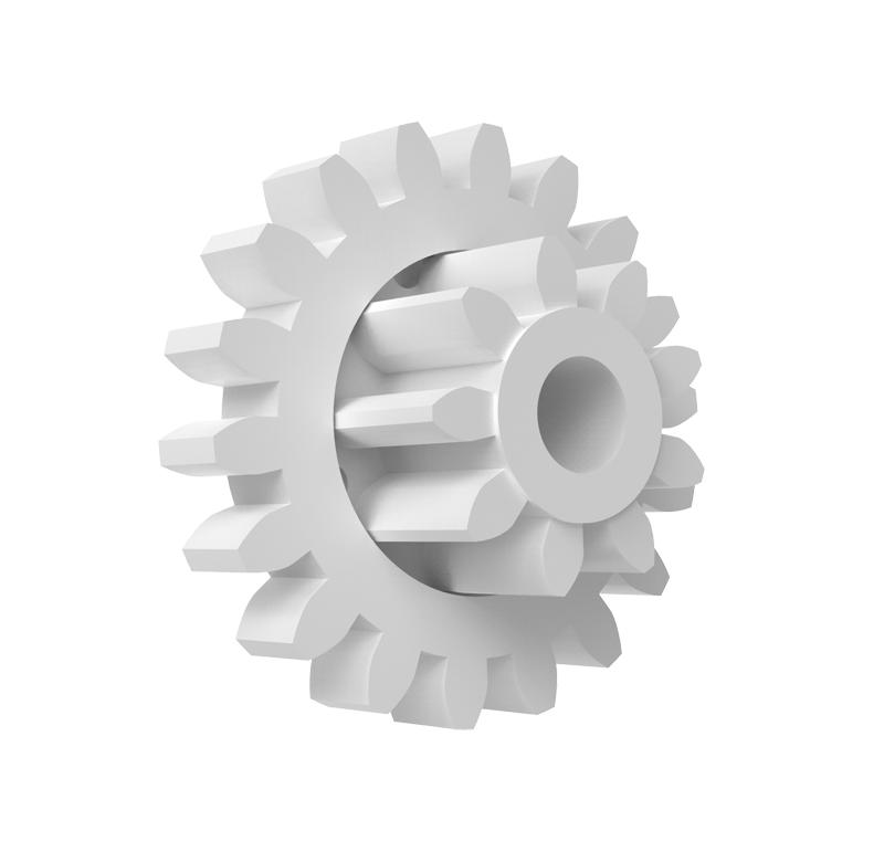 Engranaje de plástico Módulo 1.000, Dientes 18Z, Forma con piñon