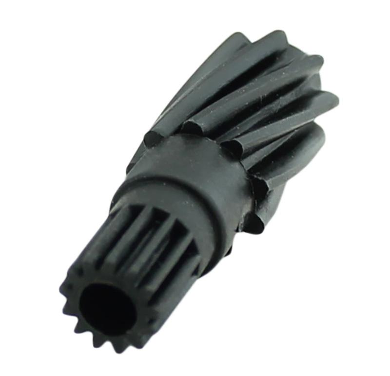 Piñón de plástico Módulo 0.500, Dientes 13Z, Forma helicoidal  Datos del piñón   - Piñón recto   - Material: PA66+30%FV   - Diámetro eje de paso: 4,20 mm   - Z 13  módulo 0,5   - Diámetro externo: 7,55 mm  Datos del engranaje   - Engranaje helicoidal   - Z 9 módulo 1   - Diámetro externo: 11,10 mm   - Paso de hélice: 114,54   - Ángulo beta: 75º 31\' 47\