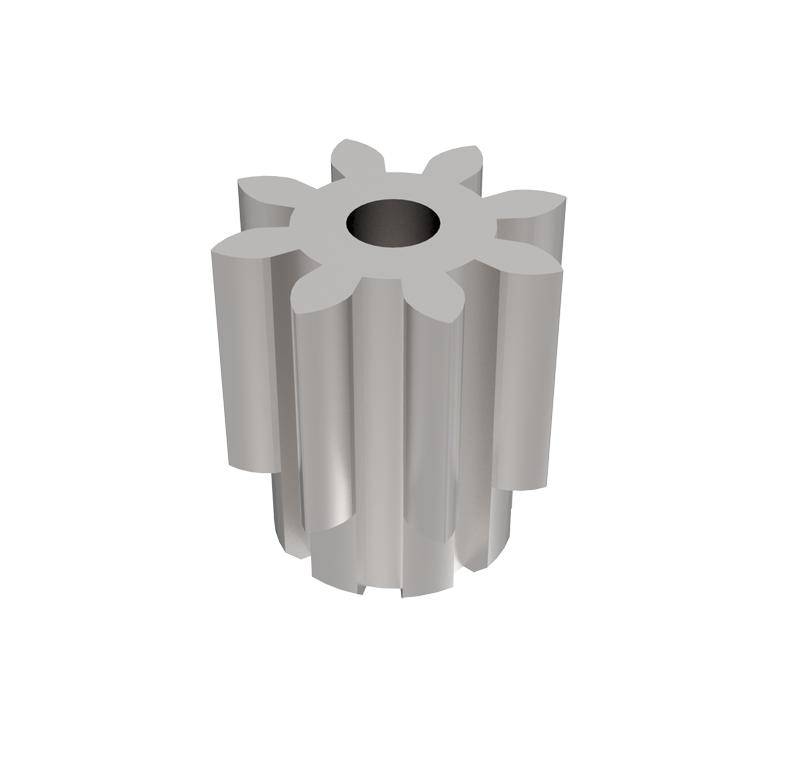 Piñón de metal Módulo 0,400, Dientes 8Z, Forma recto