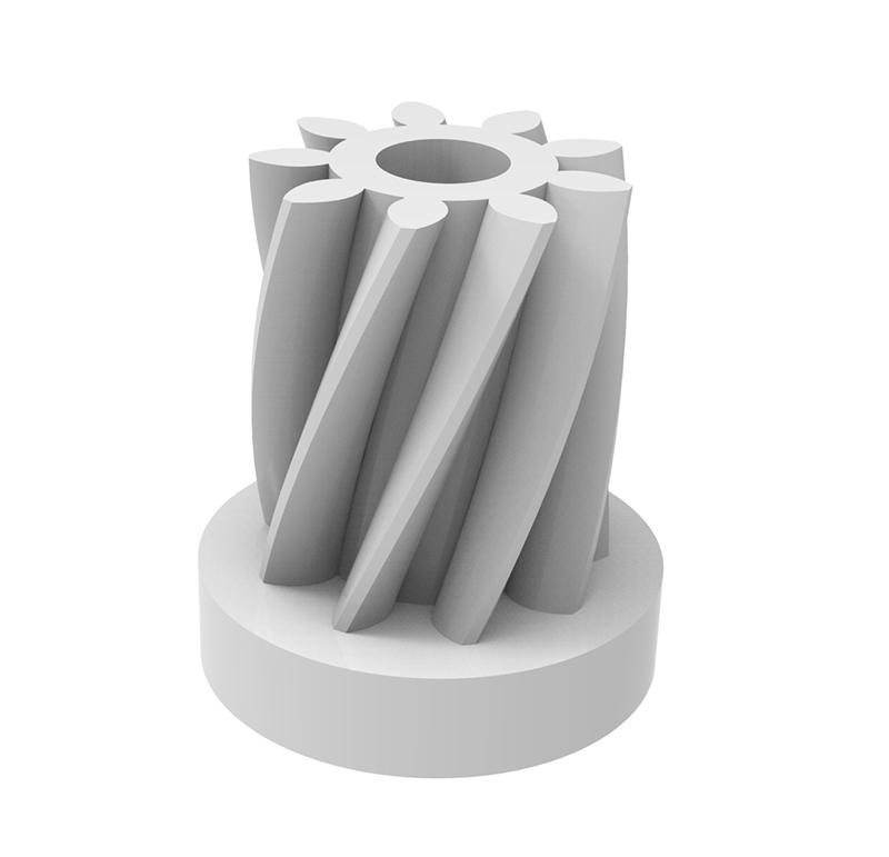 Piñón de plástico Módulo 0.500, Dientes 9Z, Forma helicoidal