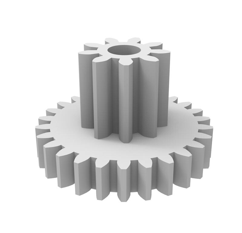 Engranaje de plástico Módulo 0.600, Dientes 26Z, Forma con piñon