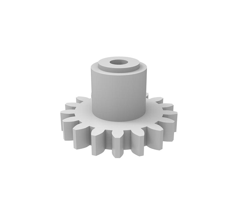 Engranaje de plástico Módulo 0.750, Dientes 17Z, Forma con bulón