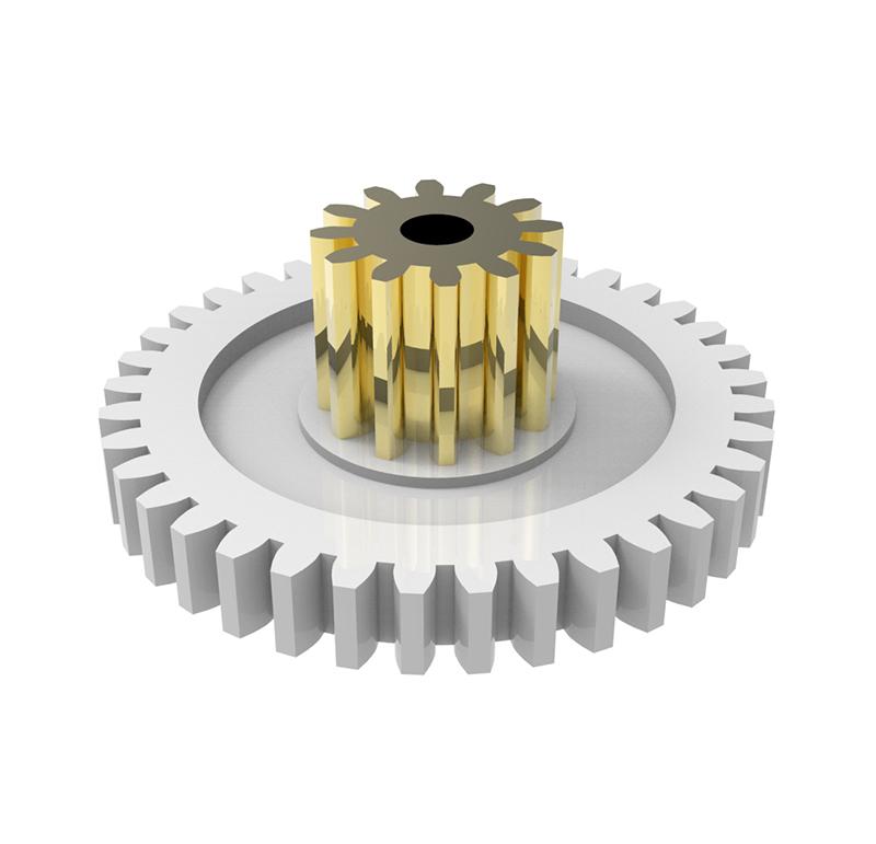 Engranaje de plástico Módulo 0.50, Dientes 37Z, Forma con sobreinyección