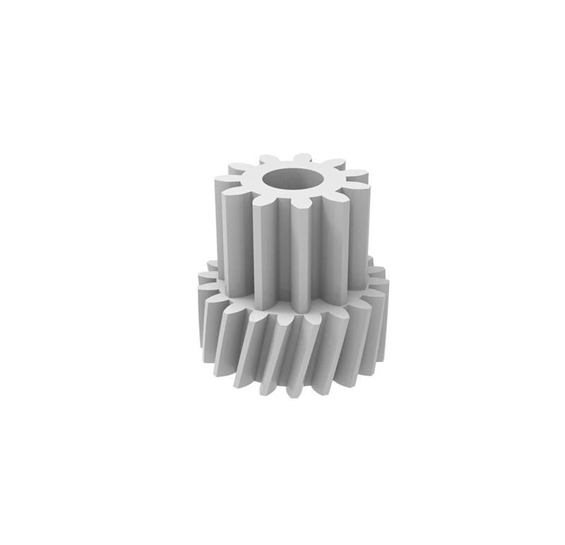 Engranaje de plástico Módulo 1.000, Dientes 20Z, Forma con piñón  Engrane helicoidal con piñón recto  Datos del engrane   -Z20 módulo 1  -Diámetro externo: 22,23 mm  -Paso de hélice: 416,963  -Angulo β: 20º  -Roscado: Derechas  -Material del engranaje: POM  Datos del piñón  -Z11 módulo 1,25  -Diámetro externo de 17,30 mm  -Diámetro eje de paso 8,60 mm  -Material del piñón: POM